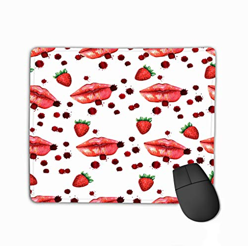 Standard Size Rectangle Non-Slip Rubber Mousepad 11.81 X 9.84 Inch kiss Lips Lover Valentine Colorful Love red pink Lip Lipstick Watercolor Set Outline Shape Imprint mask Isolated