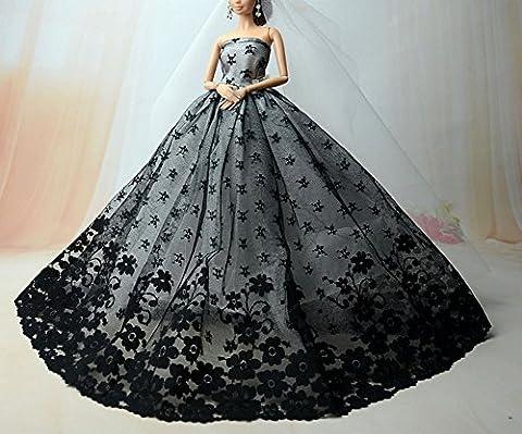 BU-02 Schöne und modische handgefertigte elegante schöne Hochzeit Abend-Partei-Kleid für Barbie Puppe(Puppen nicht im Lieferumfang enthalten) (Rote 1)
