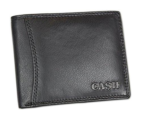 CA$H Portemonnaie Herren Geldbörse Wallet Brieftasche 100% Leder in schwarz oder braun Portmonee Querformat mit Riegel Softleder (5606)