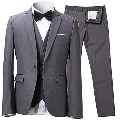 Herren Anzug Slim Fit 3 Teilig mit Weste Sakko Anzughose Business Smoking von Harrms,Grau,EU 50/Hose 34