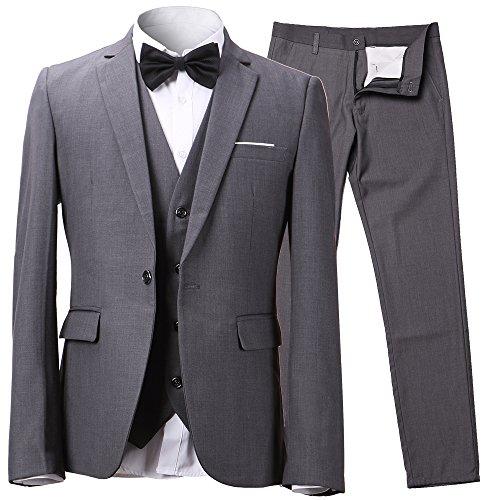 Herren Anzug Slim Fit 3 Teilig mit Weste Sakko Anzughose Business Smoking von Harrms, Grau, EU 54/Hose 36