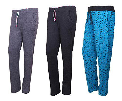 Indistar Cotton Lower/Track Pants/Pyjama for Women(Pack of 3)_Gray/Black/Firozi_Size-Medium_73200-151624-IW-P3-M