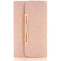 5.8 inch Case for iPhone 10, TechCode Women Cute Style Candy Color PU Leather Stand Cover Flip Lady Multi Envelope Wristlet HandBag Clutch Wallet Case for iPhone X /iPhone 10 -Yellow