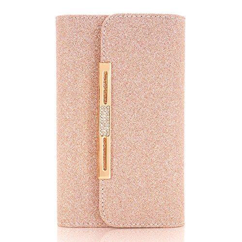 Schutzhülle für iPhone 6, TechCode Chain Wallet Schutzhülle PU Leder Flip Case Tasche mit Standfunktion und Karte Halter für iPhone 6/6S (iPhone 6/6S, Goldene) Gelb