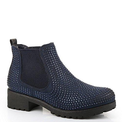 Ideal-Scarponcini, motivo Shoes Chelsea, bi-materiale, impreziositi Redoni strass Blu (Marina)