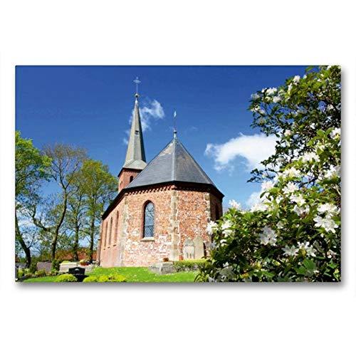 Calvendo Premium Textil-Leinwand 90 cm x 60 cm quer, St.-Marcellinus- und Petrus-Kirche zu Waddens   Wandbild, Bild auf Keilrahmen, Fertigbild auf echter Frühjahr in Butjadingen Natur Natur