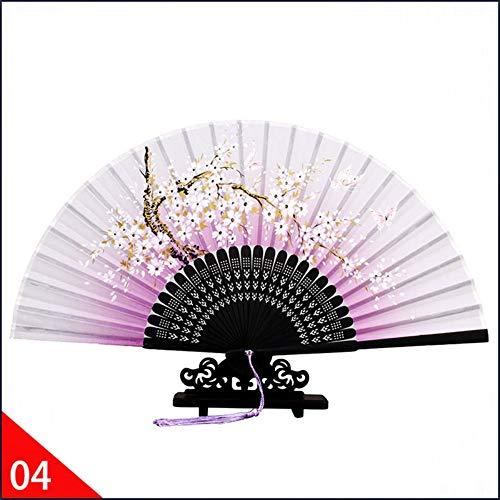 XIAOHAIZI Handfächer,Weiße Blume Hellpurpurnen Chinesischen Vintage Blumen Faltfächer Tasche Seide Hand Fan Sommer Kunsthandwerk Geschenk Für Party