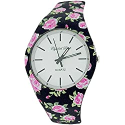 ELizabeth Rose Black Pink & White Floral Retro Design Ladies Casual Watch
