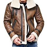 Yvelands Herren Mantel Herbst Winter Highneck Warm Pelz Liner Revers Leder Zipper Outwear Top Coat(EU-56/L4,Braun)
