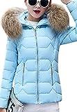 OMZIN Frauen Parka Winter Mantel Mantel Kurz Daunenjacke Outwear BLAU XXS
