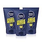 NIVEA MEN Gel nettoyant Barbe + Visage (3 x 100 ml), soin barbe adoucissant à la camomille, nettoie la peau sans dessécher, kit entretien barbe courte et longue