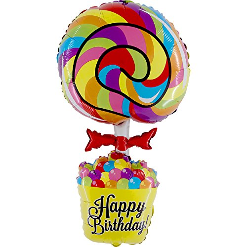 Happy Birthday Lollipop XXL Folienballon 100cm - Süßes Geschenk zum Geburtstag Kindergeburtstag - Deko Ballon Helium Luftballon