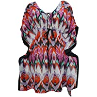 Mogul Interior Ladies Short Kaftan Dress multicolored Ikat Print Summer Bikini Coverup Medium