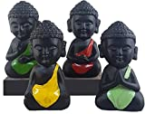 #4: eCraftIndia Handcrafted Set of 4 Laughing Monk (Collection of 4 Idols) - For Home Decor| Office Decor| Chrismas Decor| Diwali Decor| Vaastu Decor| Fengshui