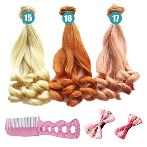 Perücken Kostüm Puppe - Fully 3stk. Puppen-Perücke Gewelltes Lockiges Haarperücke Haarteil 20cm/7.87
