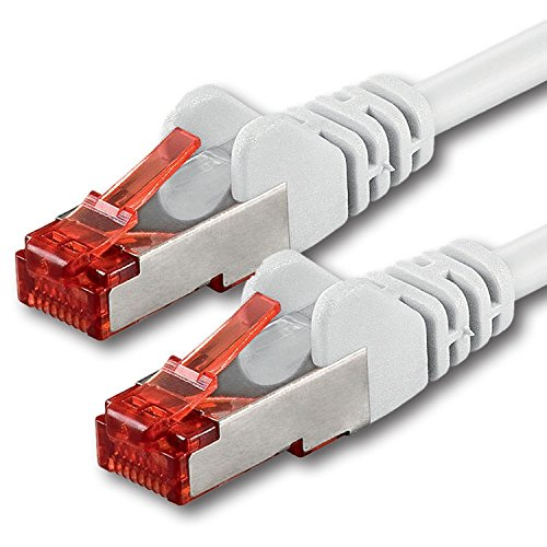 1aTTack.de Netzwerkkabel Cat 6 (5m - weiß - 1 Stück) Ethernetkabel Cat Kabel Lankabel Cat6 (SFTP PIMF) doppelt geschirmt Patchkabel Set 1000 Mbit/s Internet DSL Anschluss Router Computer