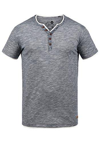 !Solid Digos Herren T-Shirt Kurzarm Shirt Mit Grandad-Ausschnitt Im Double-Layer Look Aus 100% Baumwolle, Größe:S, Farbe:Insignia Blue (1991) - Pullover Mit V-ausschnitt T-shirt Top