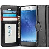 Xperia XZ Premium Hülle, J&D [Handytasche mit Standfuß] [Slim Fit] Robust Stoßfest Aufklappbar Tasche Hülle für Sony Xperia XZ Premium - Schwarz