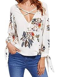 Mujer Cuello profundo en V Blusa, LILICAT Camisetas Otoño Impreso Floral Sexy Gasa Manga larga con Bowknot (S)