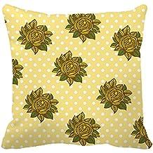 heavyxias decorativo lienzo decorativo 18x 45,72cm funda de almohada cojín caso, amarillo flores y puntos