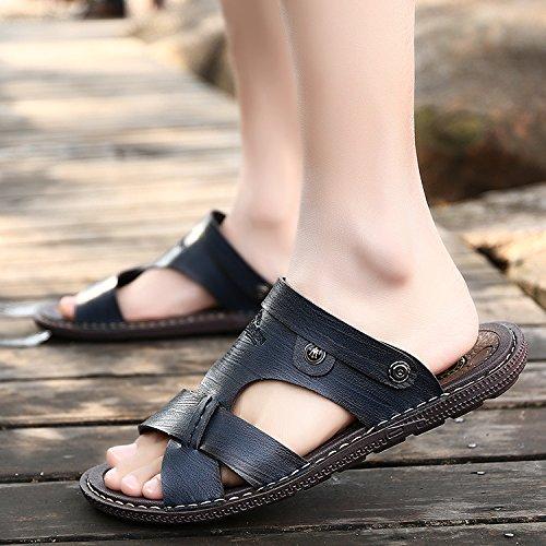 l'été, les jeunes les jeunes hommes en cuir chaussures sandales summer sandales Navy Blue