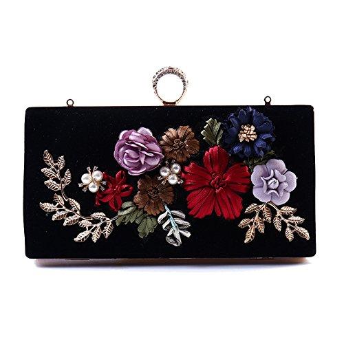 Flada Girl's Abend Clutches Seide Stickerei 3D Blume rechteckig Handtaschen Tasche schwarz (Tasche Blumen-seide)
