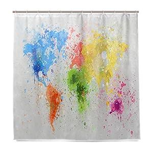 JSTEL – Cortina de ducha con diseño de mapa del mundo, resistente al moho y resistente al agua, tejido de poliéster, 182,88 x 182,88 cm, para el hogar, extra larga, 12 ganchos
