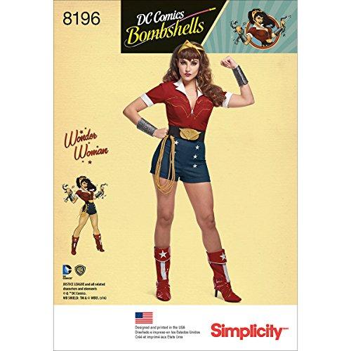 Simplicity 8196 DC Comics Damen Bombshell Wonder Damen Halloween und Cosplay Kostüm, Schnittmuster Größen - Wonder Woman Comic Kostüm