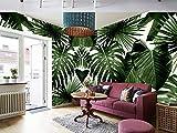 Mbwlkj Papel Tapiz 3D Hojas De Palma Papel Tapiz Fotográfico Retro Bosque Tropical Lluvioso Palmera Hojas De Plátano Mural Cafe Hotel Telón De Fondo Frescos-200Cmx140Cm
