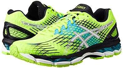 ASICS Men's Gel-Nimbus 17 Safety Yellow, White and Atomic Blue Mesh Running Shoes - 7 UK