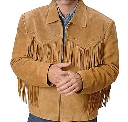 Best Mens Western Cowboy Genuine Suede Leather Jacket Fringe 59 XL -