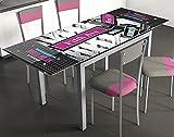 Mesa extensible para cocina de cristal con serigrafía 5ª Avenida Nueva York 110-170x70cm