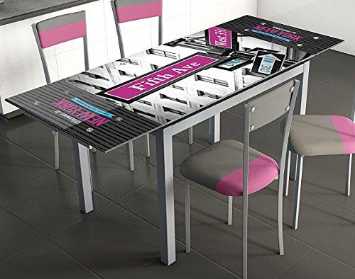 Mesa extensible para cocina de cristal con