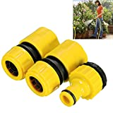 Juego de conectores de manguera, plástico ABS, adaptador de agua rápida para jardín, jardinería, riego de balcón, lavado de coche, color amarillo (3/4)