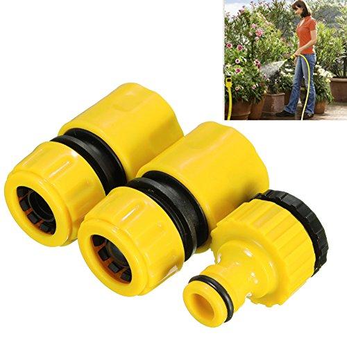 Woopower Plastique ABS Tuyau Raccord de Tuyau, raccord de Tuyau d'arrosage de Rapide Jaune d'eau Adaptateur Jardin Pelouse Robinet (3PC)