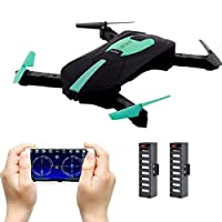 JD-18 Foldable Drone Mini, Selfie Drone with Camera Live transmission WIFI FPV Mobile Phone APP Control G-sensor Control Automatic Hover 3D Flip Stunt Headless Mode Suitable for all Level Pilots, 2MP HD camera, 2 Batteries, Black by Xiaokesong