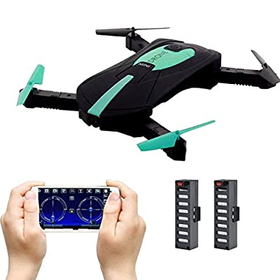 JD-18 Foldable Drone Mini, Selfie Drone with Camera Live transmission WIFI FPV Mobile Phone APP Control G-sensor Control Automatic Hover 3D Flip Stunt Headless Mode Suitable for all Level Pilots, 2MP HD camera, 2 Batteries, Black