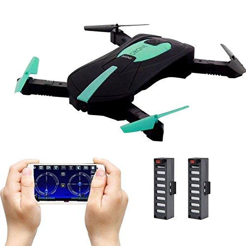 JY018 faltbare selfie Drohne mit Kamera Live Übertragung WIFI FPV Handy APP-Steuerung G-Sensor Steuerung automatische Schwebe 3D Flip Stunt Headless Modus geeignet für alle Stufen-Piloten, 2MP HD Kamera, Deutsche Anleitung, Schwarz/Türkis