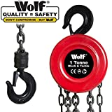 Wolf Heavy Duty 1 Ton Chain Block & Tackle Lifting Hoist with Safety
