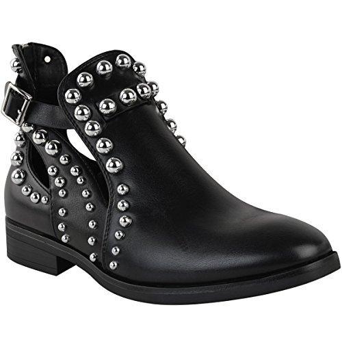 Damen Chelsea Boots mit Kugelnieten und Cut-Outs - Schwarzes Kunstleder - EUR 38 (Damen Belüftet Leder)