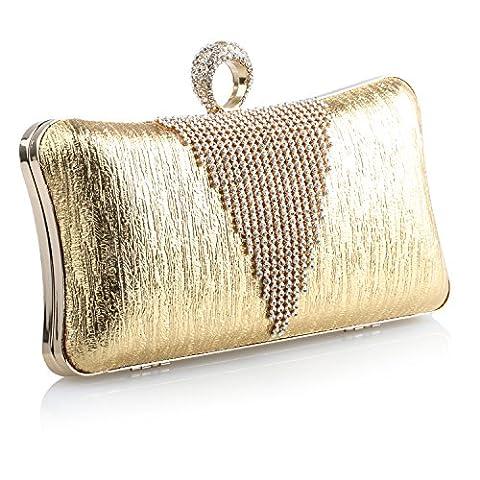 Young & Ming - Sac à bandoulière Bling Diamond Party Club Pochettes Fashion dîner embrayages de sac à main en cuir avec chaîne en métal