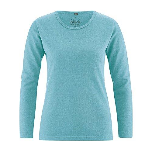 HempAge Damen Langarmshirt Naomi aus Hanf und Bio-Baumwolle Turquoise