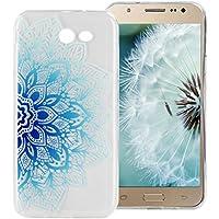 Funda Silicona Galaxy J5 2017, ZXK CO Azul Mandala Flores Carcasa Silicona TPU Gel Bumper Ultra Fina Transparente Anti-rasguños Anti Choque Case Cover para Samsung Galaxy J5 2017