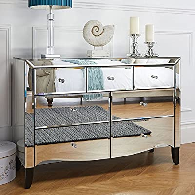 3 and 4 Drawer Chest, Happy Beds Palermo Mirrored Silver Wood Traditional 7 Drawer Chest - 80cm x 114cm x 42cm - low-cost UK light shop.
