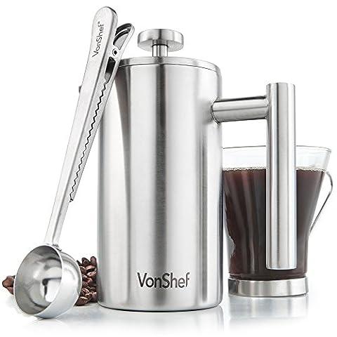 VonShef Kaffeebereiter French Presse 360 ml (3 Tasse) aus Edelstahl 2-lagig thermoisoliert inkl. Messlöffel und