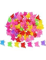 100 Stück Schmetterling Haarspange Klauen Barretttes, Verschiedene Farbe Mini Backen Clip Haarklammer Haarzubehör für Frauen und Mädchen