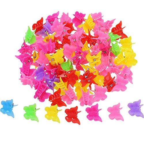 Mini-butterfly-clips (100 Stück Schmetterling Haarspange Klauen Barretttes, Verschiedene Farbe Mini Backen Clip Haarklammer Haarzubehör für Frauen und Mädchen)