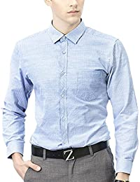 Allthemen Turn-Down Collar Button Down Suit Slim Fit Long Sleeve British Stylish Blue Medium