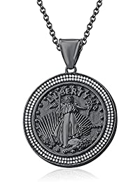 "Silvernshine 1.35 Ct Round D/VVS1 Diamond Liberty Coin Pendant 18"" Chain In 14K Black Gold Fn"