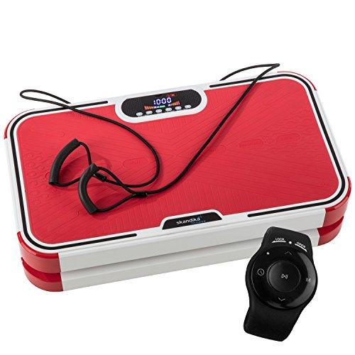 skandika 900 Plus Vibrationsplatte, 2 Kraftvolle Motoren mit 3D Wipp Vibrations, 120 Intensitätsstufen, Bluetooth-Musik, Trainingsbänder und Fernbedienung und A1 Übungsposter, Rot